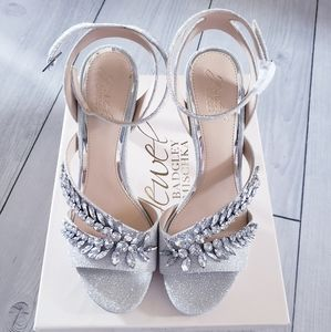 Badgley Mischka Kaira Silver Crystal Heels Pumps